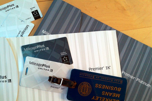 Luggage tags for United Airlines Mileage Plus airline loyalty porogram.