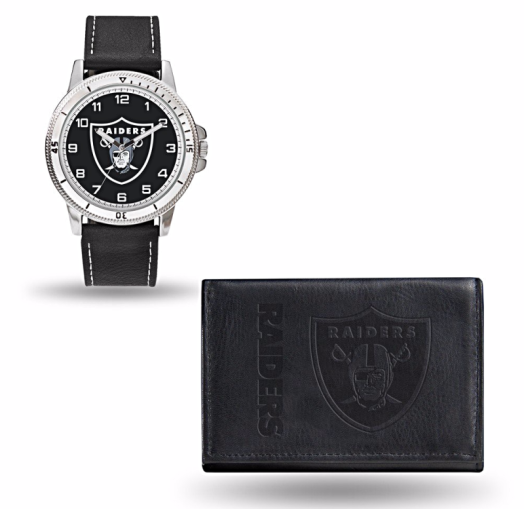 Raiders-black-leather-watch-and-wallet